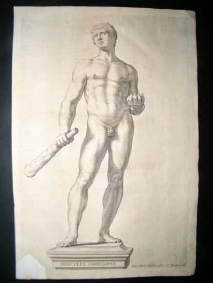 Bloemaert after Vbaldinus 1646 Nude Statue of Hercules. Gay Interest. Ferrrari | Albion Prints